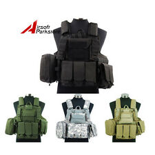 Airsoft Tactical Molle Strike Plate Carrier Combat Vest w/Pouch Military Hunting