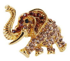 Christmas paved rhinestone crystal gold tone brooches pin elephant animal  gifts