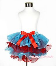 XMAS Girl Baby Peacock Blue Red Petal Pettiskirt Red Bow Skirt Dance Tutu NB-8Y