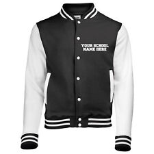 NEW MENS WOMENS KIDS PERSONALISED CUSTOM PRINT YOUR SCHOOL COAT VARSITY JACKET