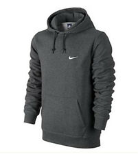 Nike Men's 611457-071 Classic Club Swoosh Fleece Hoodie Pull Up Charcoal All Siz