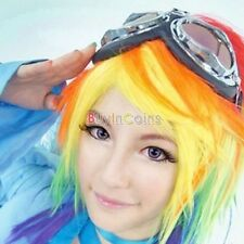Cosplay Little Pony Rainbow Dash Multi Color Combo Synthetic Party Wig Pony tail