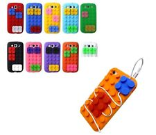 3D BUILDING BLOCKS LEGO BRICKS SOFT SILICONE STAND CASE COVER FOR SAMSUNG S3