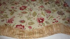 WAVERLY RED JACOBEAN FLORAL VALANCE PURPLE PINK GREEN 16 X 76 COTTON LINEN