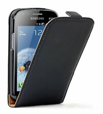 ULTRA SLIM Leather Flip Case Phone Cover for Galaxy S Duos GT-S7562 +2 PROTECTOR