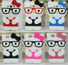 Catoon Hello Kitty With Glasses Soft Silicone Case For Iphone 4S 5 Samsung S3 S4