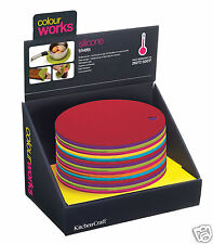 COLOURWORKS SILICONE ROUND TRIVET HOT POT STAND MAT BRIGHT COLOURS x 1