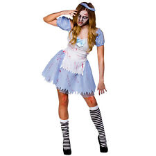 Adult Alice In Zombieland Halloween Fancy Dress Costume Ladies Zombie Outfit New