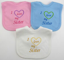 I Love My Sister / Sisters Baby Bib Boy Girl Pink Blue Babies Clothes Funny Gift
