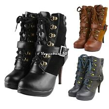 Fashion Women Lady High Heels Plarform Lace up Martin Round Toe Ankle Boots VE4A
