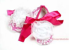 Newborn Baby Light Pink White Damask Ribbon Crib Shoes White Rosettes NB-18Month