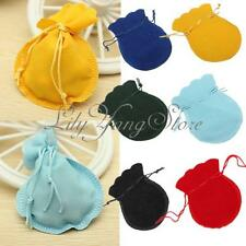 10PCs Colorful Velvet Drawstring Jewelry Pouches Necklace Earrings Ring Gift Bag
