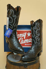 MENS TONY LAMA WESTERN BOOTS! FULL QUILL OSTRICH! BLACK! EXOTICS! STYLE CZ882