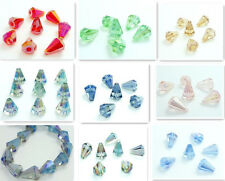 10 Conical tower Faceted Flower crystal glass Loose beads 14x10mm ※ Pick Color