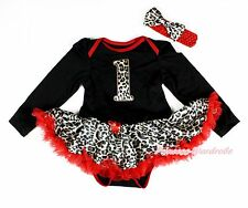 Leopard 1ST Number Black Long Sleeve Bodysuit Red Leopard Baby Pettiskirt NB-18M
