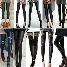 Women Sexy Synthetic Leather Stretch Skinny Leggings Casual Pants BE0D