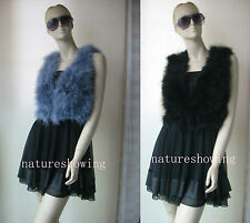 free shipping/Free shipping/real ostrich feather fur vest/jacket/ black/gray