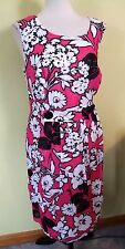 NWT Amanda Lane bright pink floral sheath dress with shadow stripes 20W
