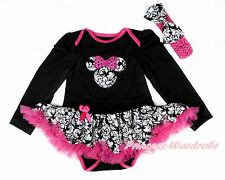 Baby Damask Minnie Black Long Sleeve Bodysuit Damask Pettiskirt Dress NB-18Month
