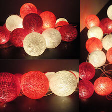 20 COTTON BALL FAIRY STRING LIGHTS PARTY PATIO Holiday WEDDING Bedroom DECOR