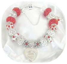 LADIES RED & SILVER CHARM BRACELET GIFT BOXED LUXURY XMAS/BIRTHDAY GIFT