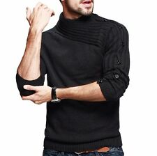 Mens New Casual Loose Turtleneck Sport Sweater Chic Cotton Round Collar M To XXL
