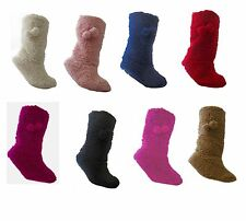 Ladies Sherpa Indoor Slipper Boots Size 4-6, Various Colours to Choose