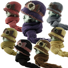 Soft Faux Fur Applique Fleece Lined Knitted Cloche Hat Scarf - Set - Combo