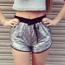 NEW BOUTIQUE SILVER HOLOGRAPHIC SEQUIN HIGH WAISTED RETRO SPORTS SHORTS 8 10 12