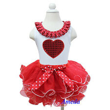 Girls Valentine's Day Red White Tutu Bling Heart Tank Top 2pcs Party Dress 1-7Y