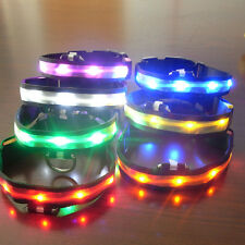 Pets Dog LED Lights Flash Night Safety Waterproof Nylon Collar Adjustable S-XL