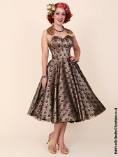1950s Style Vivien of Holloway Champagne Lace Rockabilly Pin-Up Swing Dress