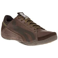 New Mens Cushe Brown Boutique Leather Trainers Lace Up