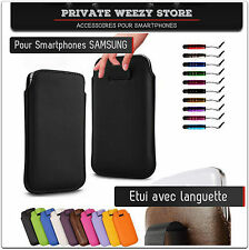 ETUI COQUE HOUSSE SAMSUNG GALAXY S3 S4 NOTE 2 3 MINI CUIR PUSH UP COULEURS FILM
