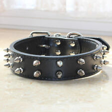 2 Rows Spiked Studded Pet Dog Collar Large Dog Black PU Leather Collar Pitbull