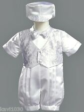 Infant Baby Boys White Christening Baptism Satin Outfit Romper Suit 3M-24M 8700