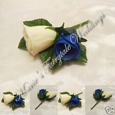 WEDDING FLOWERS BUTTONHOLE DOUBLE SILK ROSEBUDS ROYAL BLUE WITH OR WITHOUT BOW