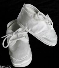 Baby Boys White Matte Satin Christening, Baptism Booties Soft Sole Shoe 00-5