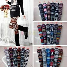 Autumn Winter Warm Women's Nordic Deer Snowflake Knitted Leggings Tights Pants