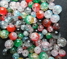 Round Crackle Glass Beads for jewellery making Multi-Coloured Size 6, 8 (mm)
