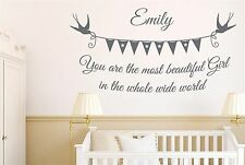 Personalised You Are The Most Beautiful Girl In The Whole World Wall Stickers