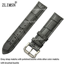 22mm or 24mm New Top grade Crocodile Grain Genuine Leather Watch Bands Strap--