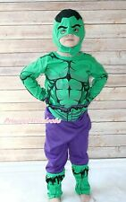 Amazing Green Hulk Super Hero Boy Kid Party Costume Outfit Cloth Set Gift 2-7Y
