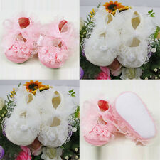 Fashion Newborn Toddler Baby Girls Princess Non-Slip Lace Flower Shoes 0-12M
