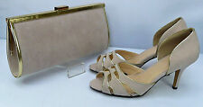 Shoes Matching Bag Nude/Natural Suedette Peep Toe Court Gold Trim 3'' Heel