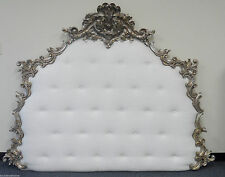 Unique Heavily Carved Upholstered Headboard Button Tufted Custom Bed Finishes