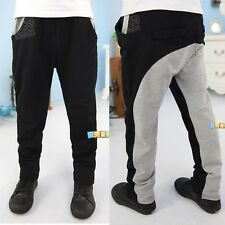 Black Grey Color Blocking Baby Boys Kids Children Casual Pants Trousers Pockets