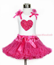 Valentine Hot Pink Romantic Rose Heart White Top Girl Hot Pink Pettiskirt 1-8Y