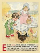 Farm Children Kids Playing Kitchens Chickens Eggs Vintage Poster Repro FREE S/H