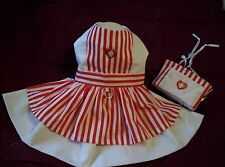 Candy Striper Dress and Hat Costume for Dogs XXXS,XXS,XS,S,M -  Handmade in USA